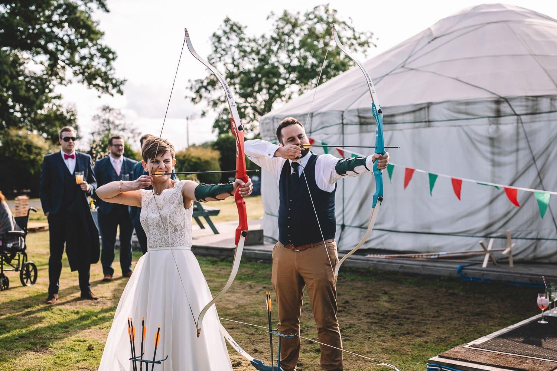 wedding-archery-bride-groom